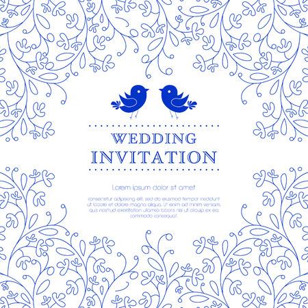 Tarjeta o invitación de boda con el fondo del ornamento floral. Perfecto como invitación o aviso. Foto de archivo - 26206733