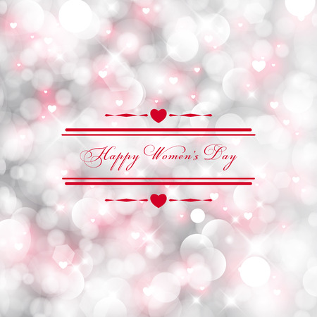 Happy Womens Day greeting card with glittery light background text 8 March. Vector