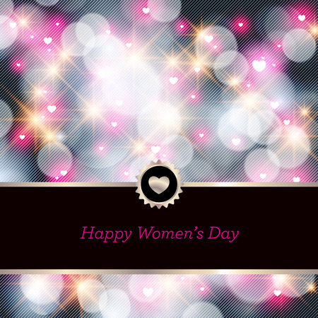 Happy Womens Day greeting card with floral decorated text 8 March. Perfect as invitation or announcement. Vector