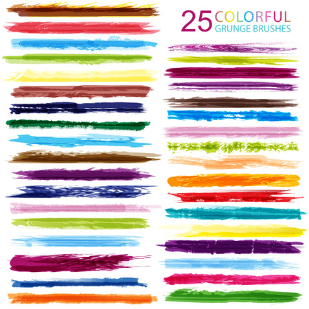 Large set of colorful 25 different grunge brush strokes.