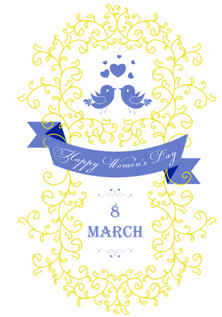 Happy Women's Day greeting card with floral decorated text 8 March. Perfect as invitation or announcement. Vector