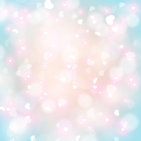 Abstract heart bokeh bright background. Vector