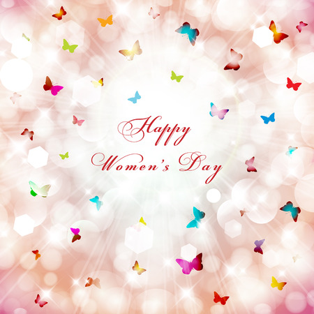 8 march: Happy Womens Day greeting card. Illustration