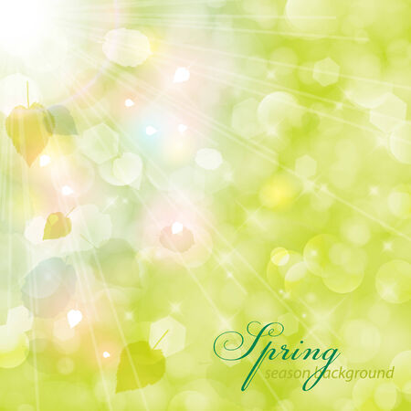 overlying: Abstract green blurry background with overlying semitransparent circles, light effects and sun burst.