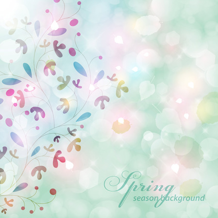 Abstract green blurry background with overlying semitransparent circles, light effects and sun burst. Vector