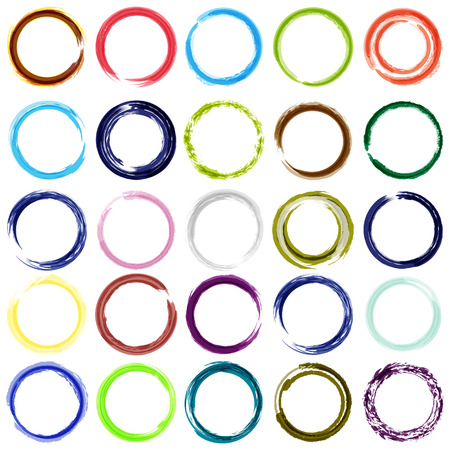 Set of 25 diferent color circle brush strokes  Vector