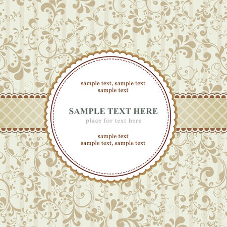 beige backgrounds: beautiful template frame design for greeting card