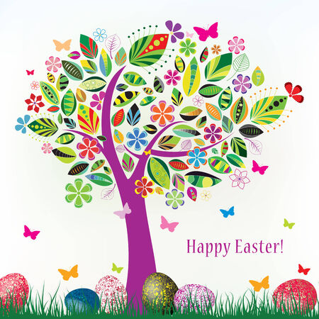 beautiful floral tree with green grass butterflies and easter eggs on a white background  Illustration