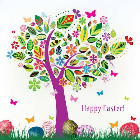 arbol de pascua: hermoso árbol de flores con mariposas hierba verde y huevos de Pascua sobre un fondo blanco