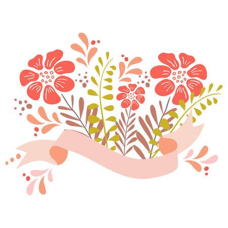 Cute floral bouquets, retro flower. Romantic graphic elements. Vector