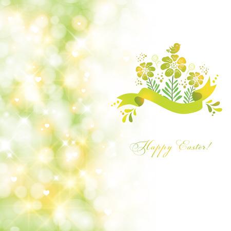 Fresh spring Easter card. Vector