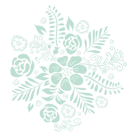 Cute floral bouquets, retro flower. Romantic graphic elements. Vector