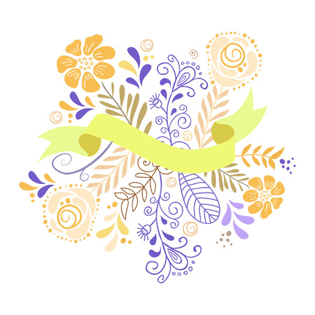 Flowers and leaves with ribbon for text. Romantic graphic elements. Vector