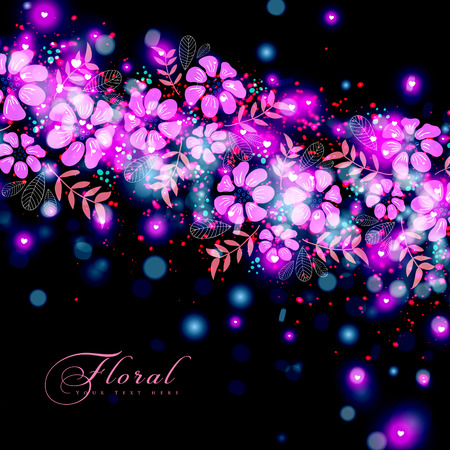 Abstract festive background with floral, light effect and sun burst. Vector