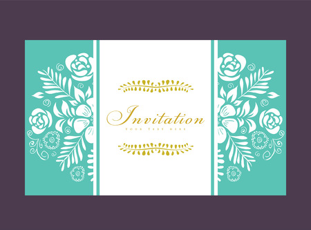 Tarjeta o invitación de boda con el ornamento floral de fondo. Perfecto como invitación o aviso. Foto de archivo - 26865999