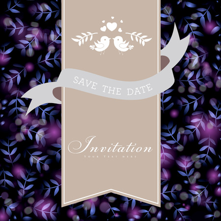 Wedding card or invitation. Glittery lights silver abstract background. Perfect as invitation or announcement. Vector