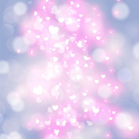 Festive romantic elegant abstract background with bokeh lights and stars. Vector