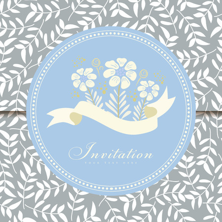 Wedding card or invitation with floral ornament background. Perfect as invitation or announcement. Vector