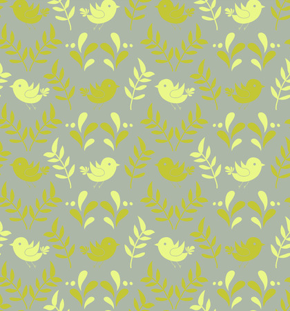 Retro seamless pattern. Birds and flowers stylish background. Vector