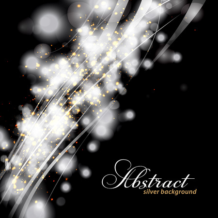 Glittery lights silver abstract background.