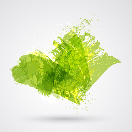 Green brush strokes and ink. Abstract vector design element. Vector