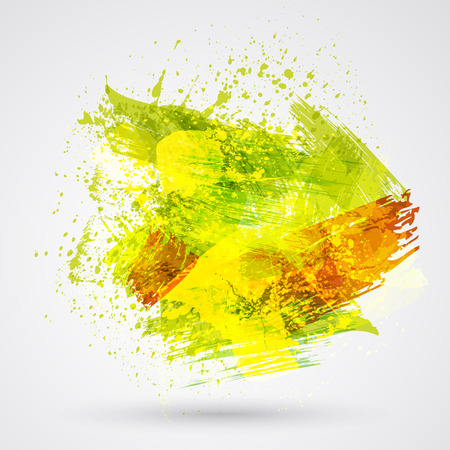 Color brush strokes and ink. Abstract vector design element.