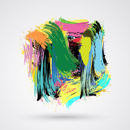 Cute brush strokes and ink. Abstract design element. Vector