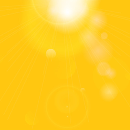 Sun with lens flare. Summer background. Vector