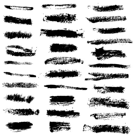 Set of grunge brush strokes.