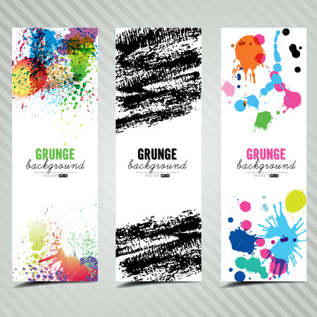 Set of three banners. Abstract artistic backgrounds of grunge brush color. Vector