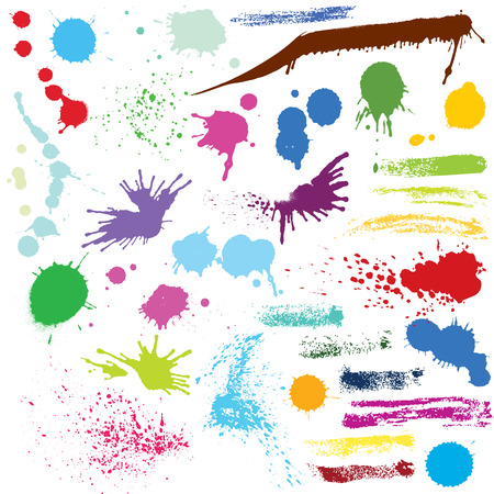 Set of abstract watercolor colored spots and brush strokes. Illustration