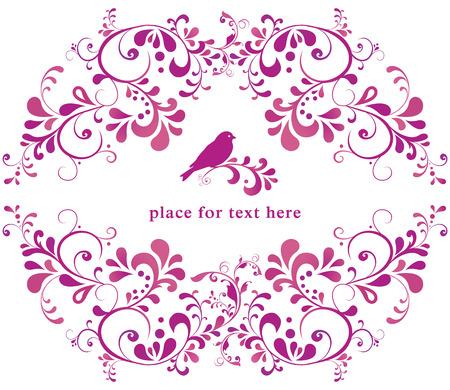 linework: beautiful floral romantic for greeting card, bird illustration