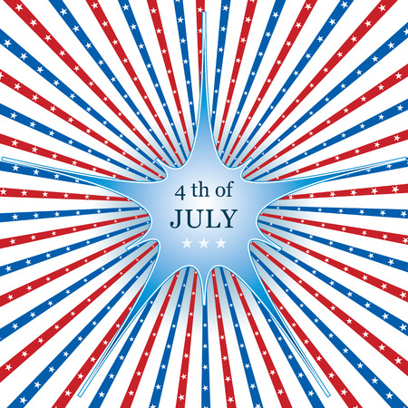 red america: American flag background colors, stars and stripes with shiny blue centre star, symbolizing 4th july independence day Illustration