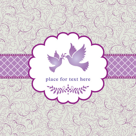 linework: elegant romantic vintage style card with love birds and flowers, illustration background