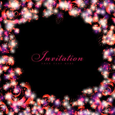 Glittering floral invitation card.  Vector