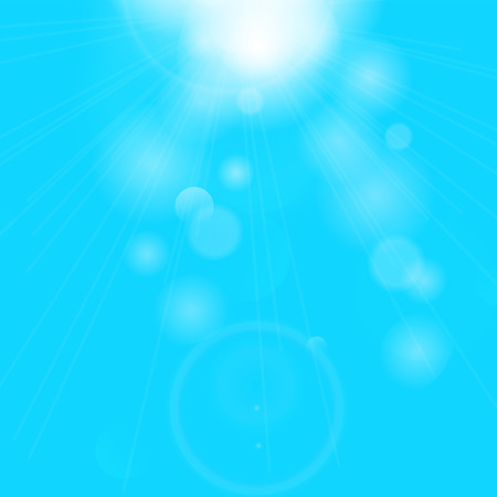 Blue sunny rays background illustration. Vector