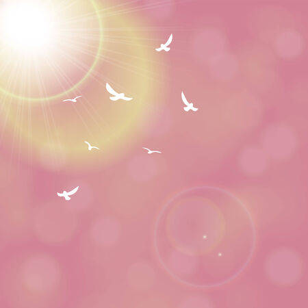 Red sunny rays background illustration. Vector
