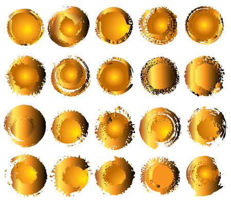 Set of different gold circles. Vector