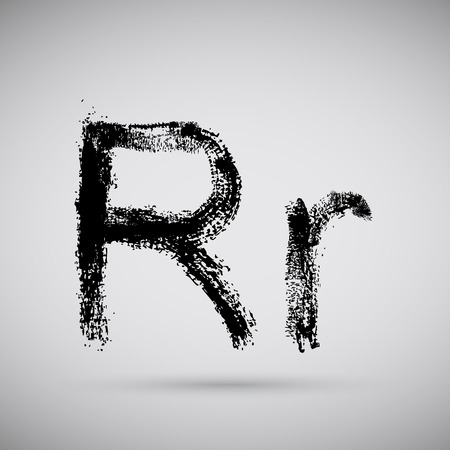 ink spill: Grunge alphabet - R.  Illustration