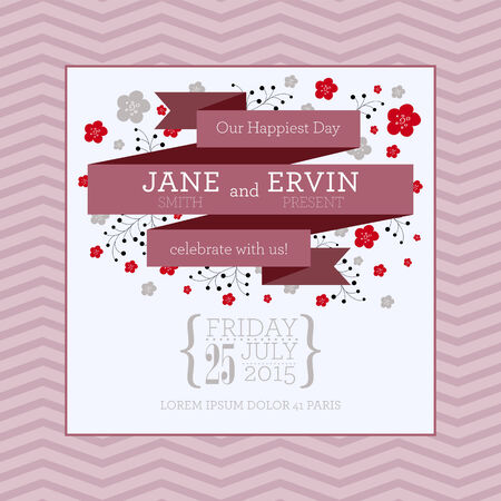 bachelorette: Wedding invitation card with abstract floral background.