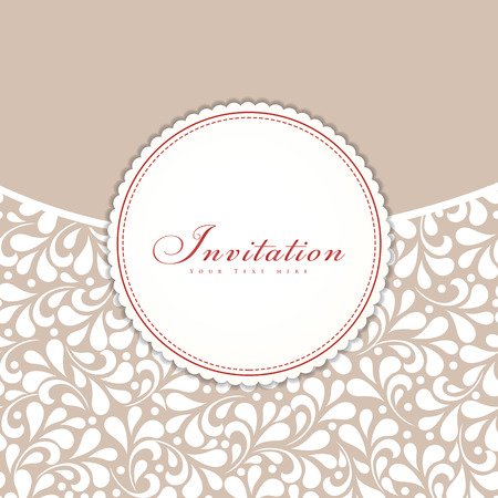 Wedding invitation card with abstract floral background.  Illustration