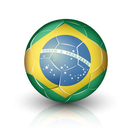 footwork: Soccer football ball with Brazil flag.  Illustration