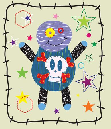 vodoo: Beautiful doll gift card illustration