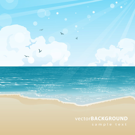 sky background: Beautiful sea beach and sky background illustration
