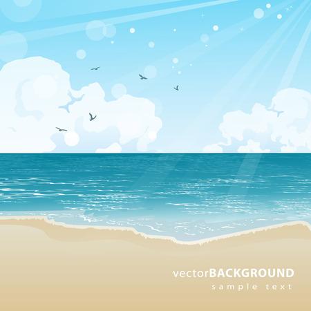 Hermosa playa de mar y de la ilustración fondo del cielo Foto de archivo - 28526036