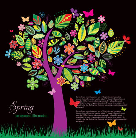 deciduous: beautiful floral tree with green grass and butterflies on a black background Illustration