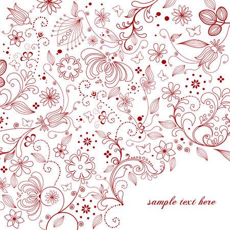 xmas linework: Floral greeting card