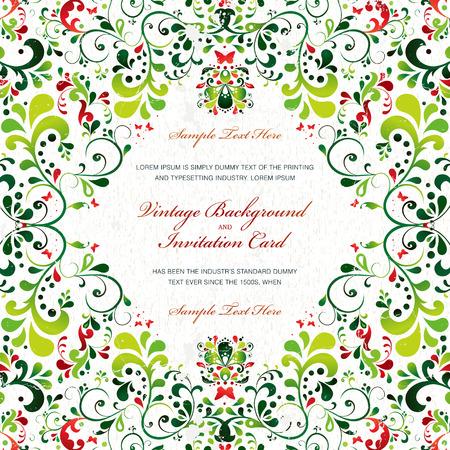 Elegant vintage ornament card Illustration