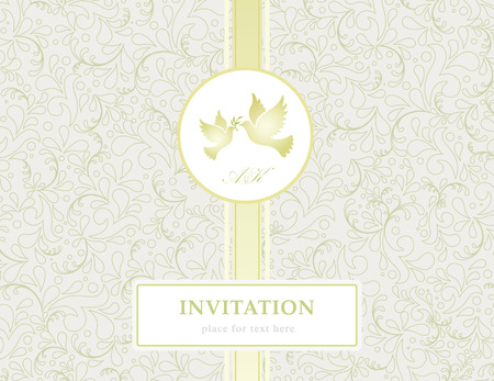 linework: elegant romantic invitation gold style card with love birds and flowers, illustration background Illustration