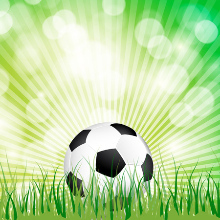 Soccer ball in the grass and sun light background.  Vector